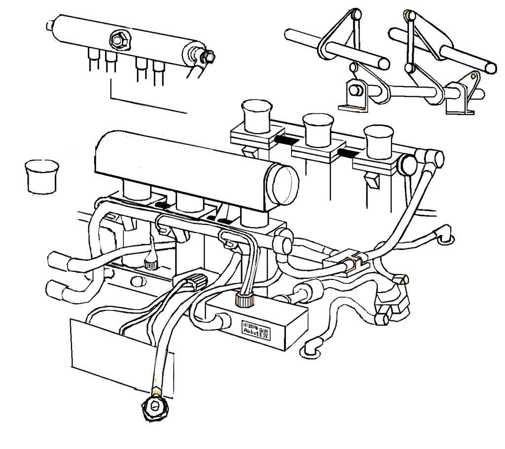 Porsche 911 GT1 throttles, wires, plumbing, cartoon. 1998