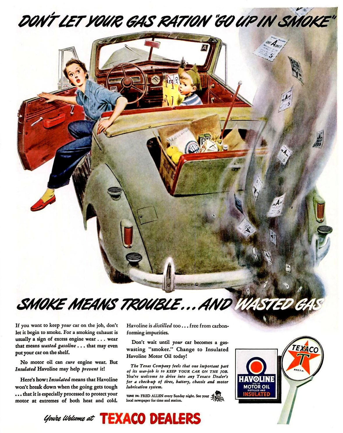 Texaco Havoline Motor Oil - 1943