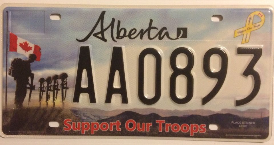 My Alberta 2014 Support Our Troops license plate an optio