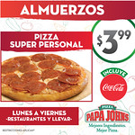 Pizza papa johns almuerzos super personales