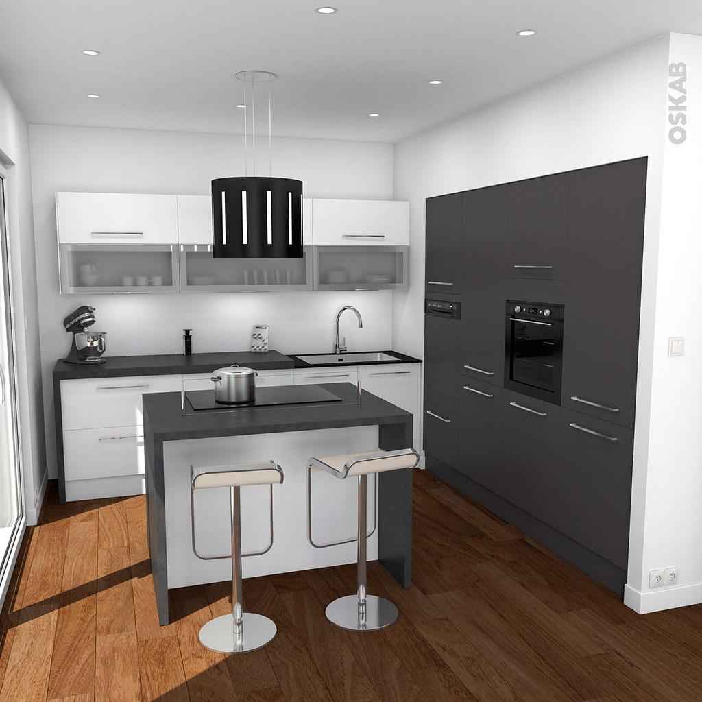 Cuisine design avec ilot central blanche et grise  OSKAB  Flickr