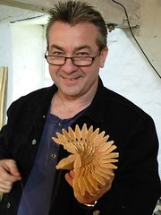 fan bird carving