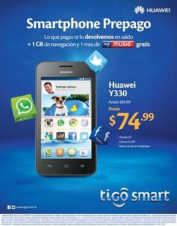 Tigo smart android cel phone HUAWEI y330 - 16sep14