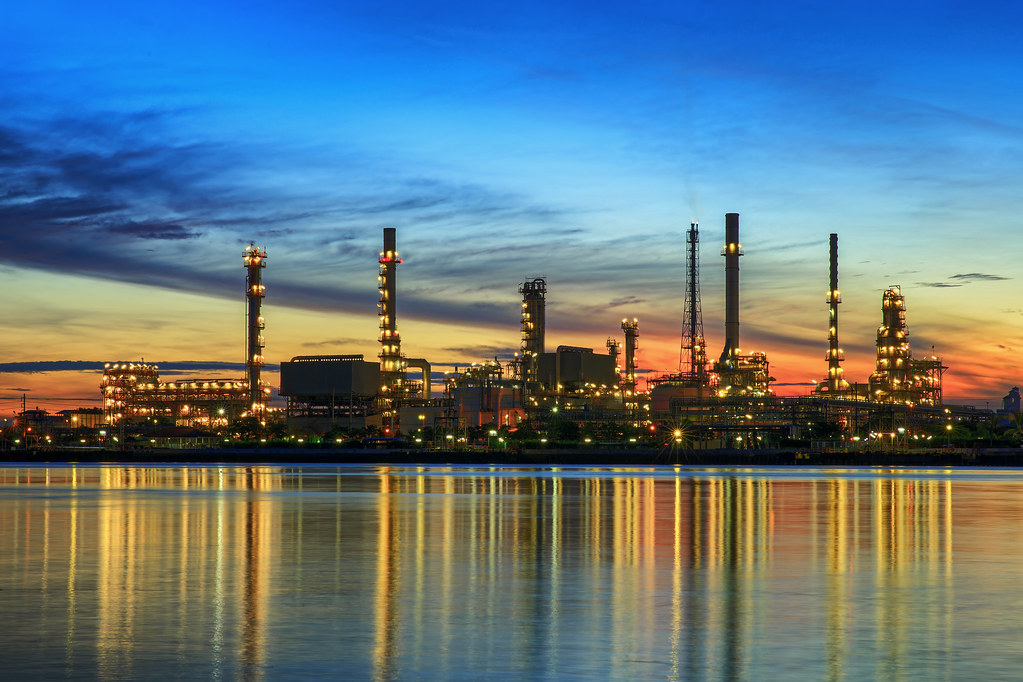 petrochemical plant in night time  petrochemical plant in