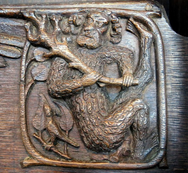 Wild Man Misericord Carving .1390 Church Of St