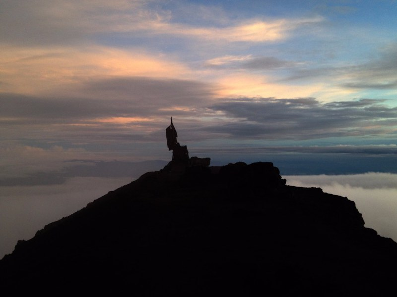 summit of mount kerinci at dawn