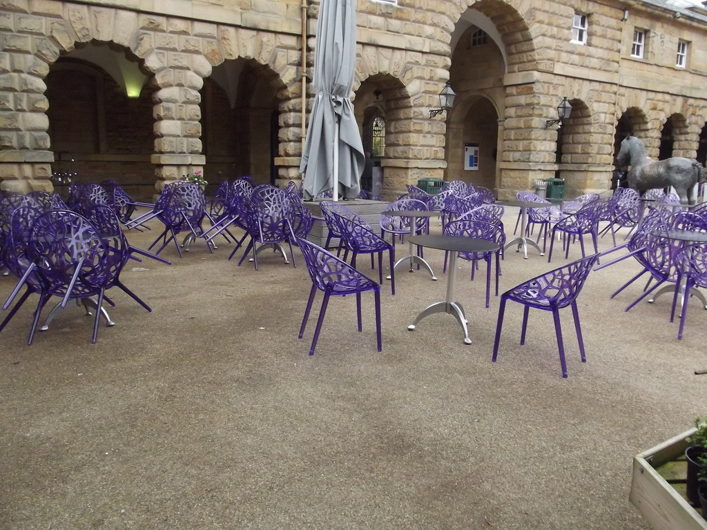 Former Stables  Chatsworth  purple chairs  The former
