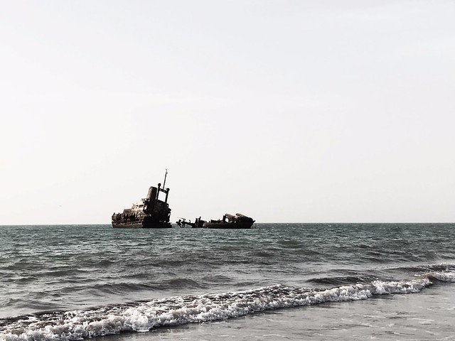 shipwreck in the atlantic ocean off the west african coast in palmarin, senegal