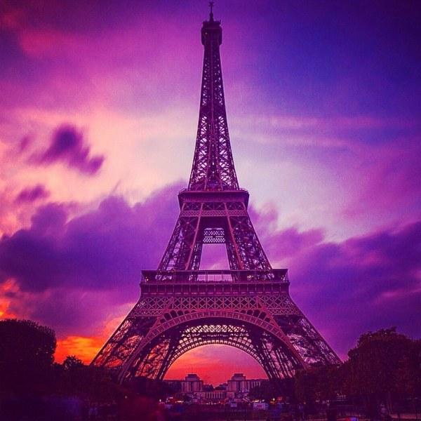 Eiffel Tower Purple Sky