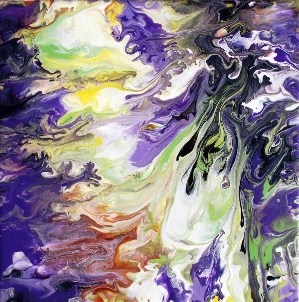 Purple & Green Fluid Painting Abstract