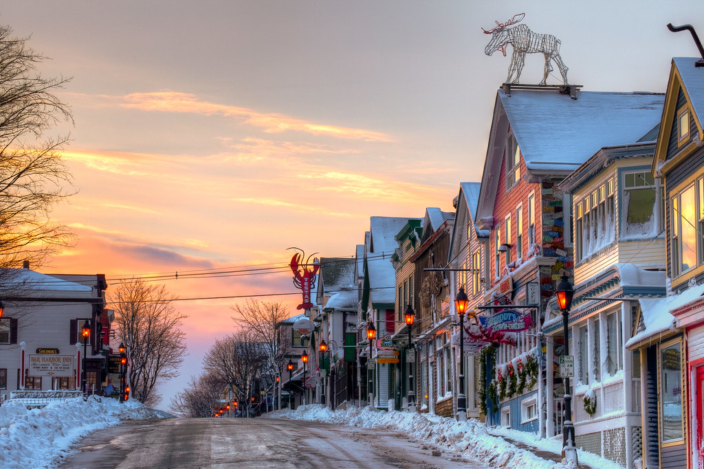 Maine street Bar harbor Maine winter  yes i will add a