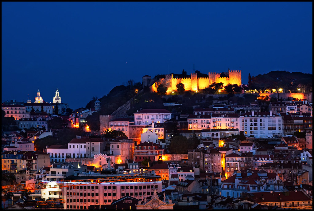 Castle of Sao Jorge Lisbon  Blue hour view of Lisbon