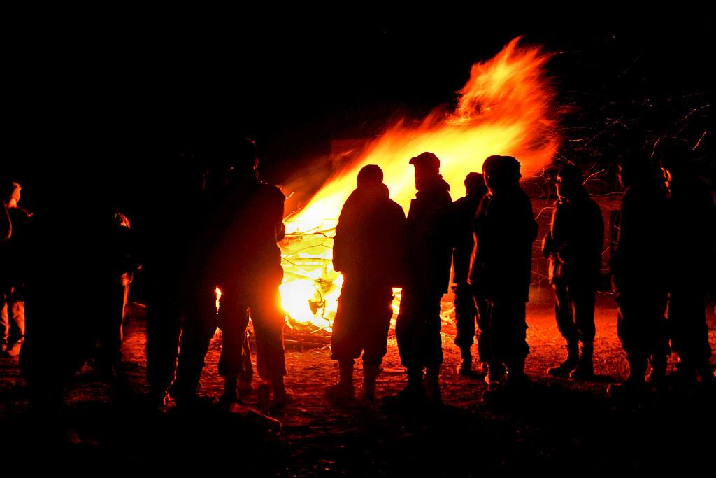 New Years Eve bonfire  Airmen Soldiers US civilians