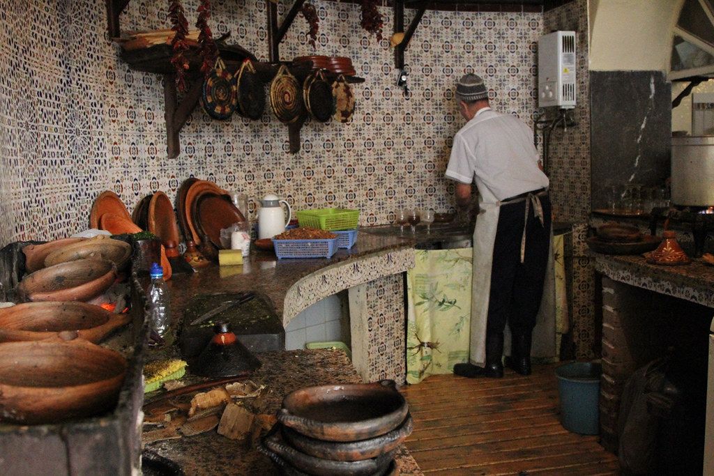 Traditional Moroccan kitchen  All food is prepared in