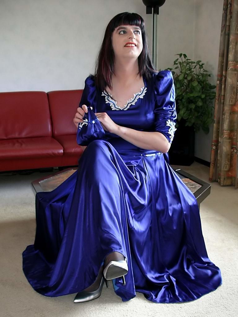Blue satin gown  I feel divine in my blue satin gown with