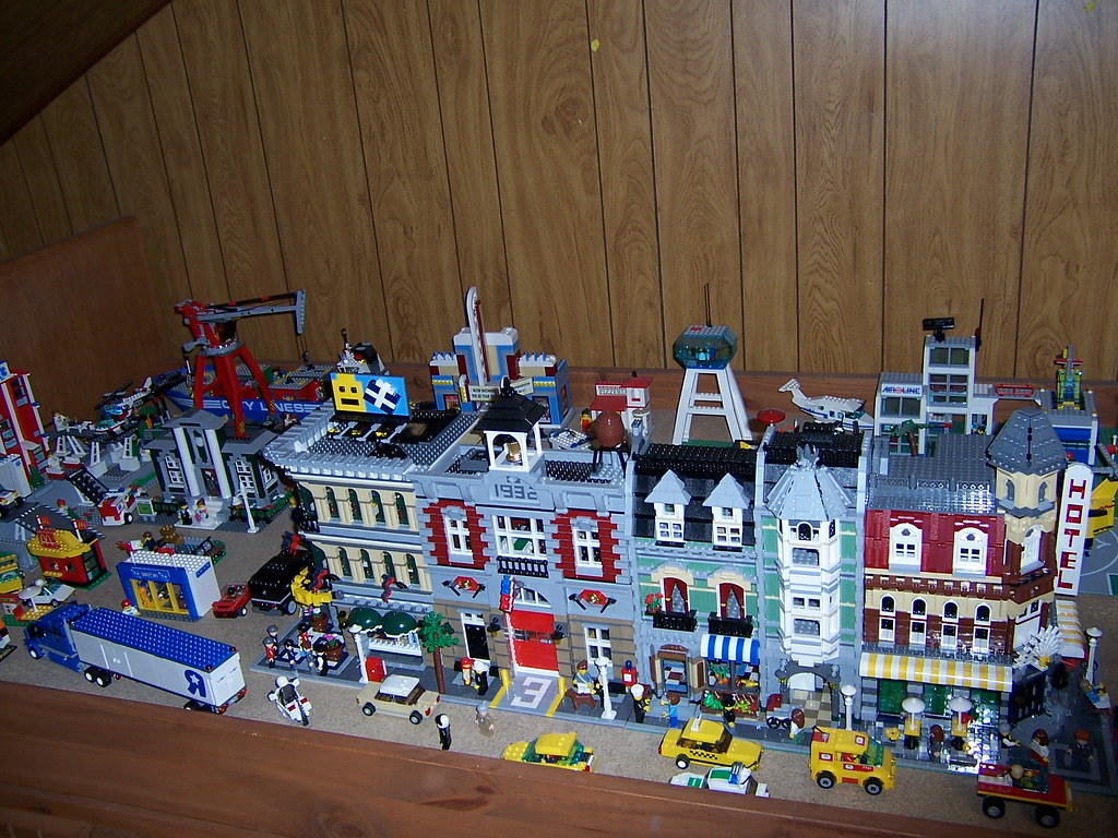 Lego City  My Lego City on a former twin bed bunky board