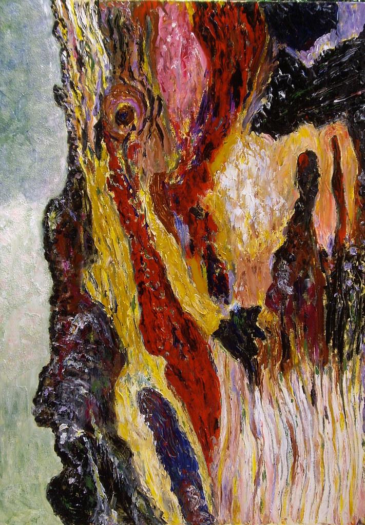 Tree bark acrylic painting  This painting measuring