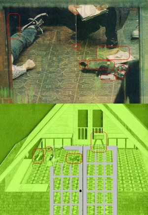 cobain greenhouse crime scene with green diagram below