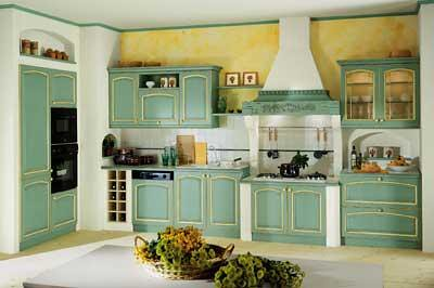 Cucina country verde e muratura  Cucina in stile