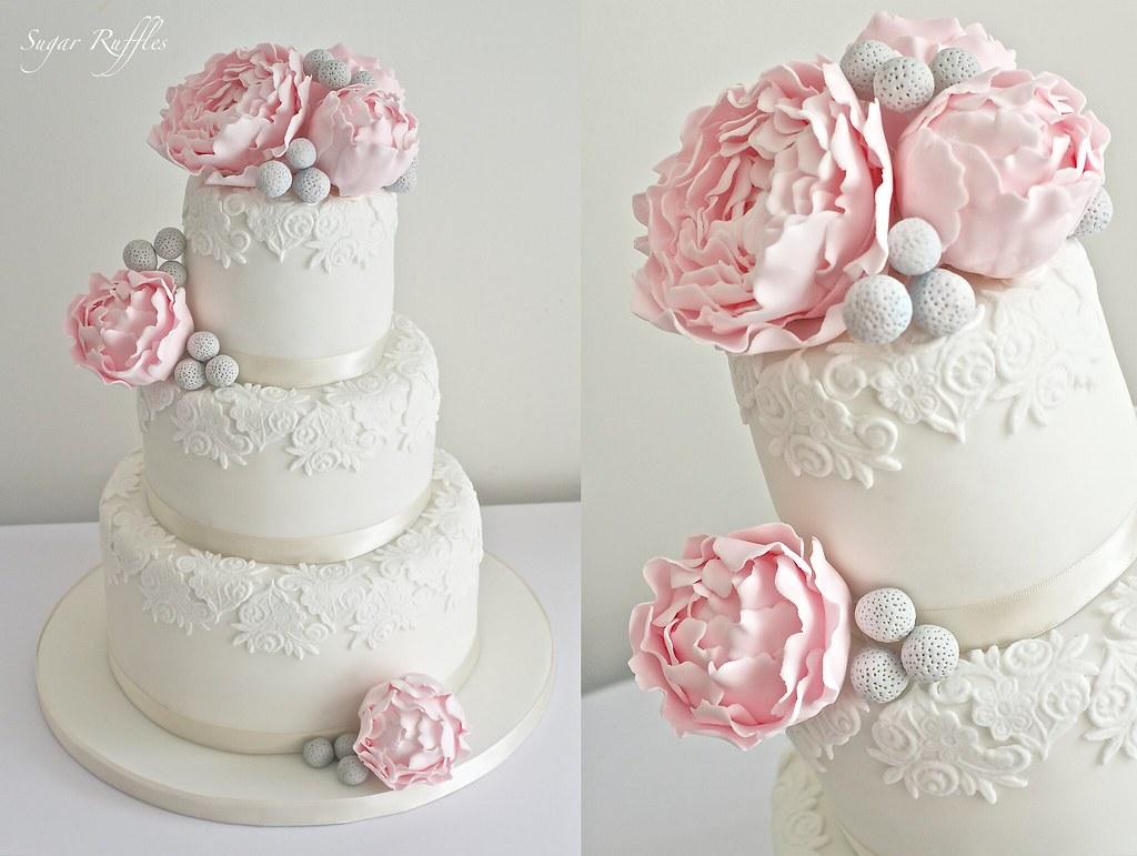 Pink peony Wedding Cake  Wedding cake with lace detail