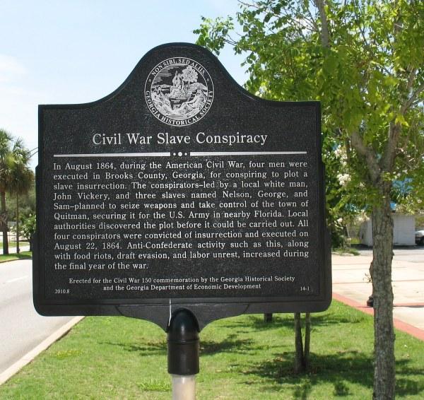 Civil War Slave Conspiracy Marker Ghs 14-1 Quitman Ga