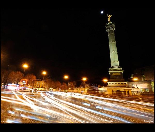 Paris Place De La Bastille Night
