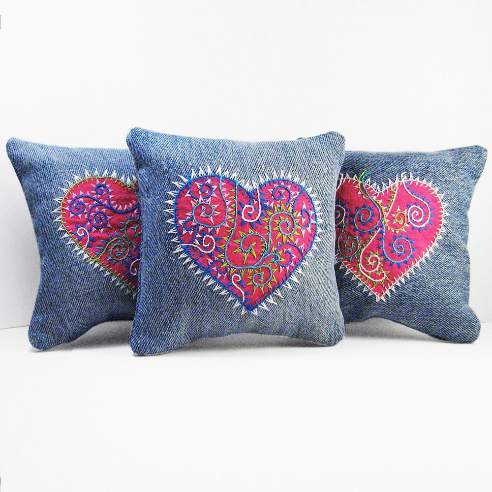 Pink Heart Pillow Trio Tattoo Inspired Tapestry Embroidery
