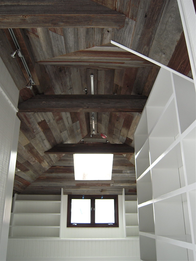Salvaged Barn Wood Ceiling And Built In Bookcases A