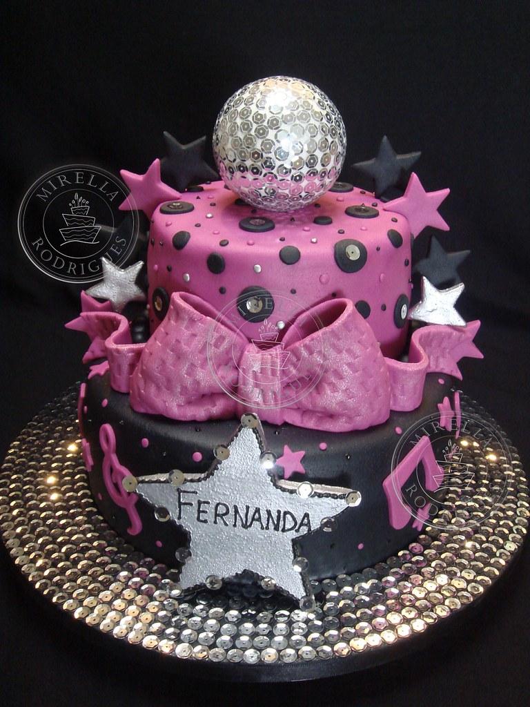 Bolo Decorado ''Discoteca'' Disco Birthday Cake