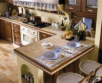 Top in piastrelle di una cucina in muratura  Spettacolare