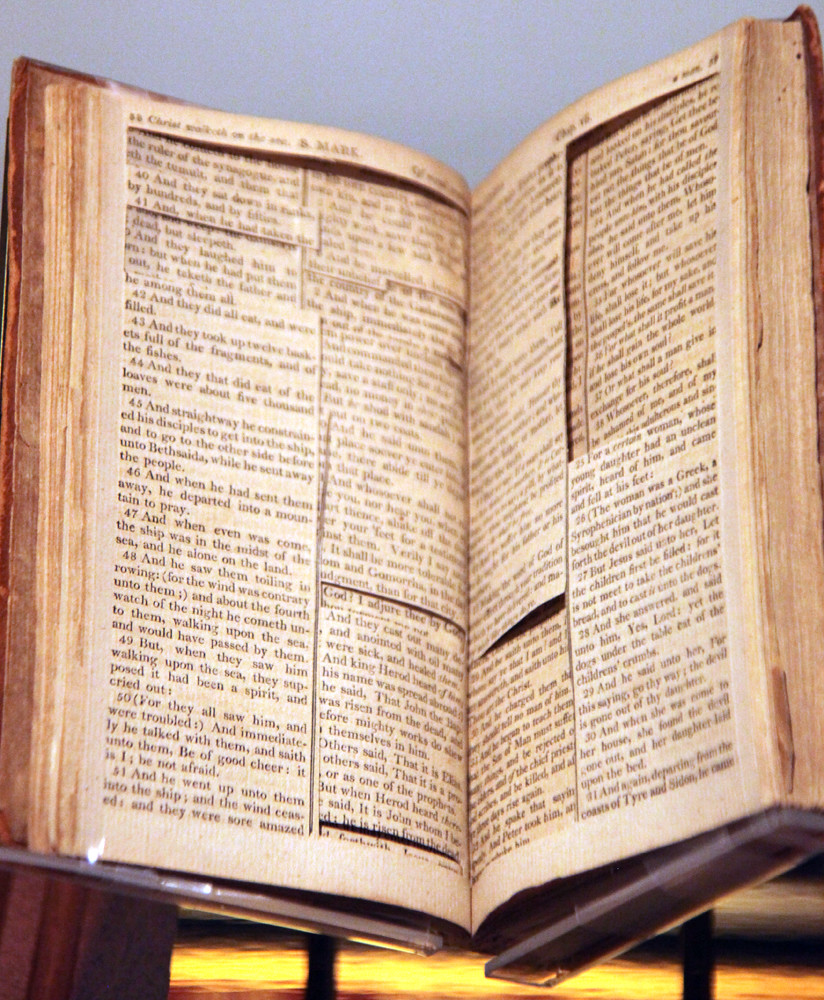 Source bible for the Jefferson Bible  Smithsonian Museum