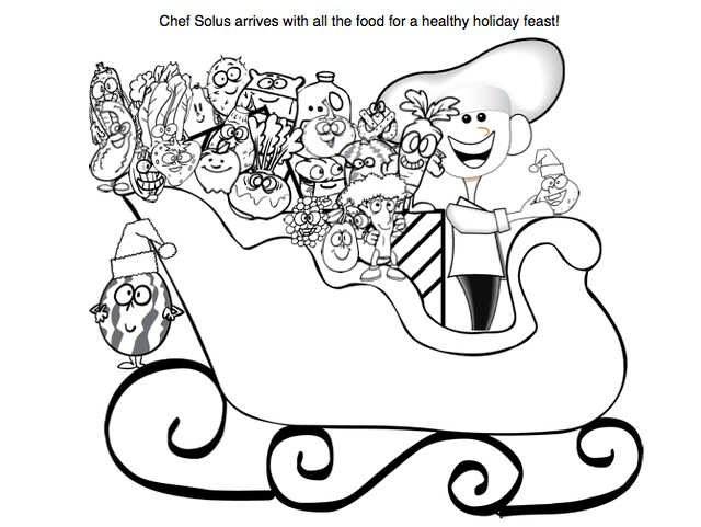 Holiday Sleigh Picture Coloring Page for Kids- Fruits and