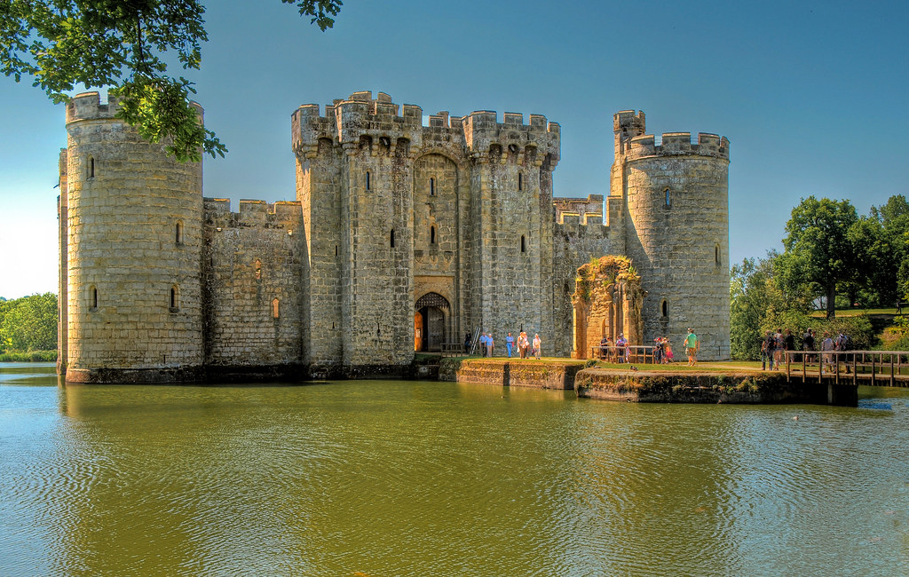 The 14th century Bodiam Castle in East Sussex England