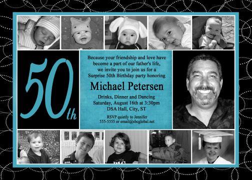 Turquoise Black 50th Birthday Invitation Collage Childhood  Flickr