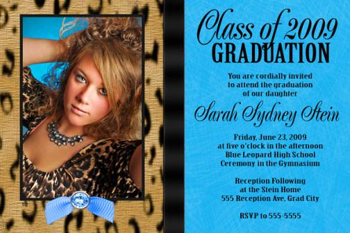 Leopard Turquoise High School Graduation Invitation Senior