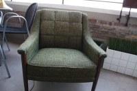 Kroehler Mid Century Lounge Chair   Saber leg green ...