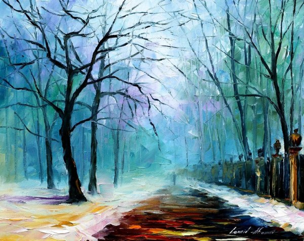 6a 16x20 Winter Fog - Original Oil Painting Leonid Afre
