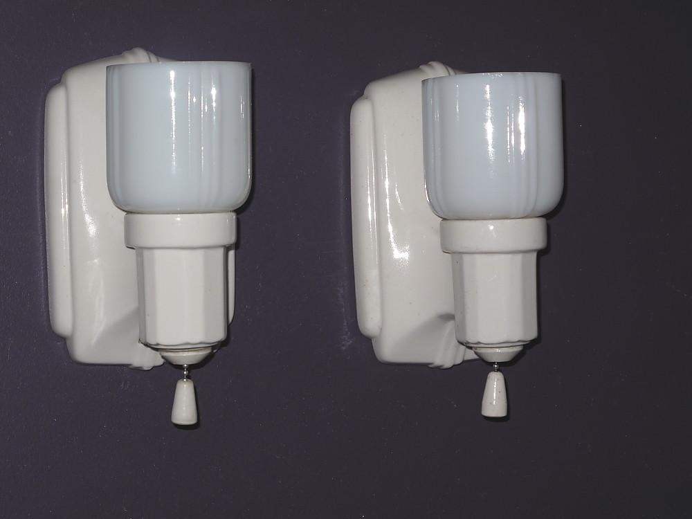 vintage porcelain bath sconces  Vintage Bathroom  Vintag