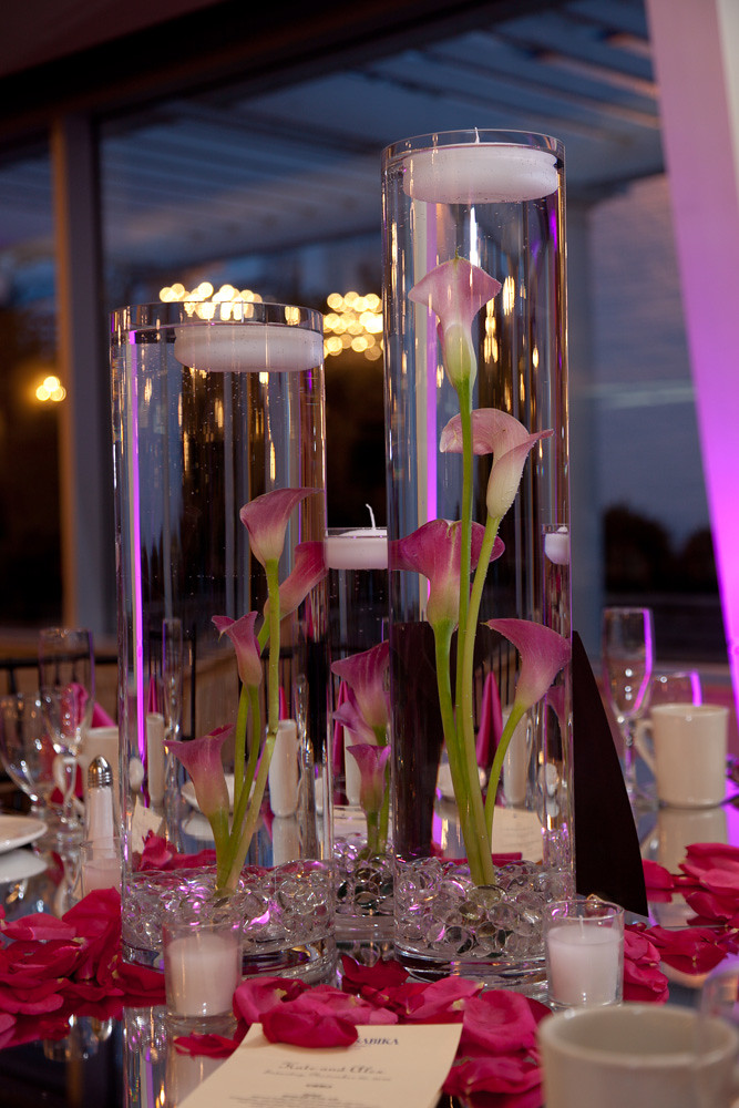 Reception Centerpiece  Submerged Pink Calla Lilies and