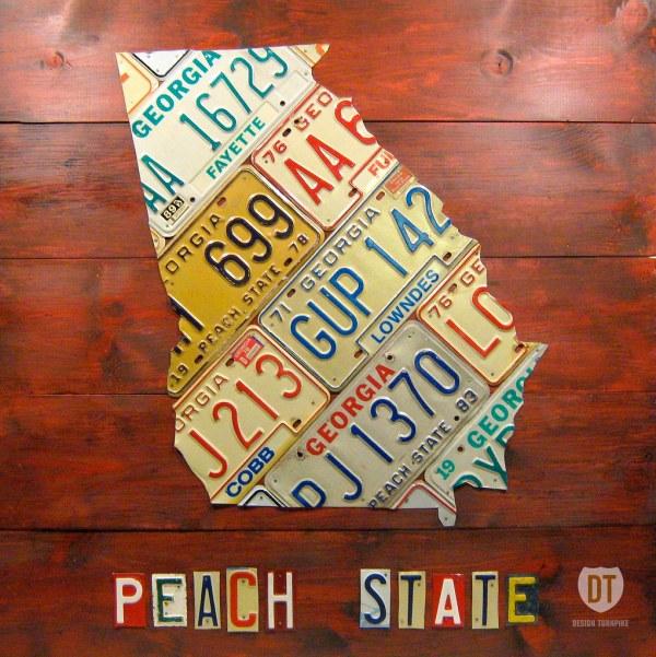 Georgia License Plate Map Art Peach State Lives