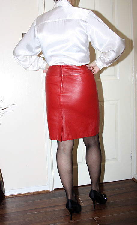 red leather skirt  sheerglamour  Flickr