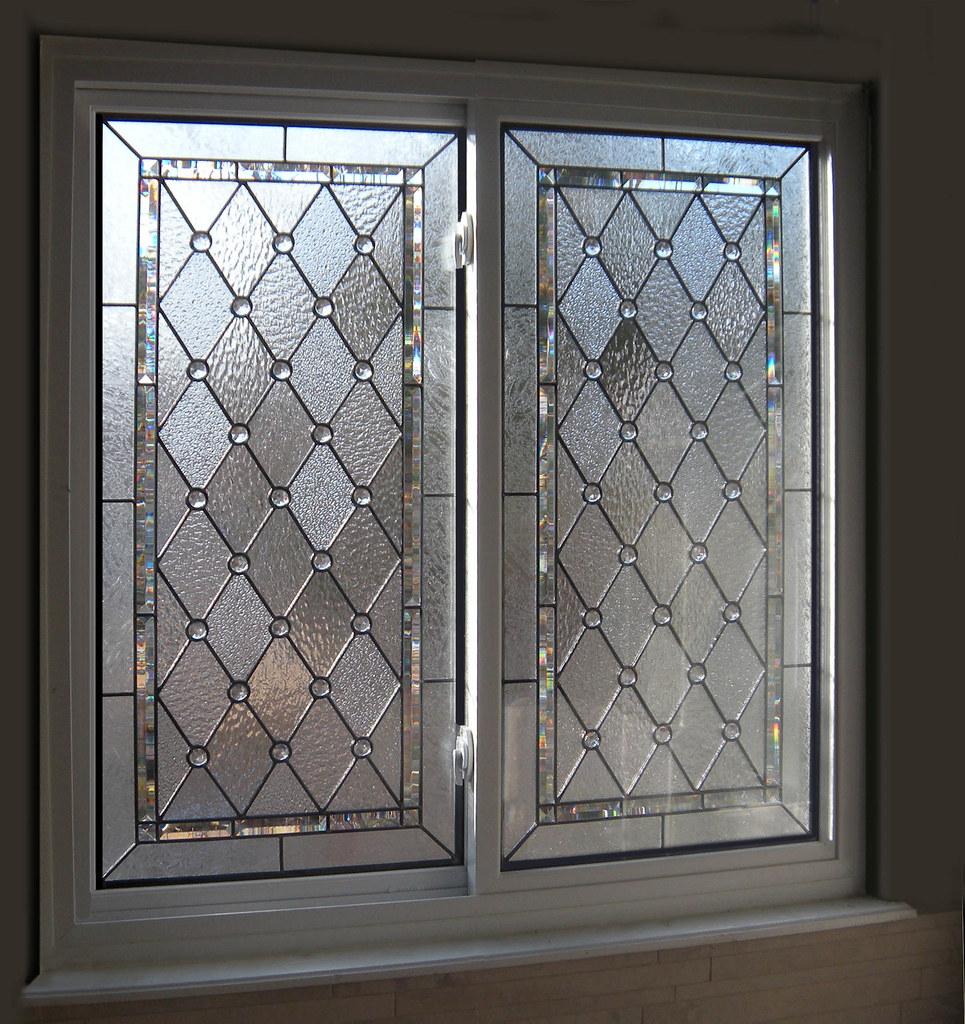 Diamond Amp Beveled Stained Glass Bathroom Windows