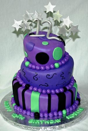 Purple Topsy Turvy 12th Birthday Cake Noelle  Custom cake