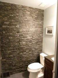 hallway bathroom slate accent wall | hallway bathroom ...