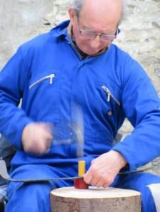 peening an Austrian scythe