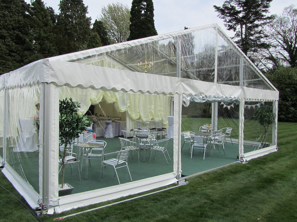 Marquee tent with clear gable end by Churchill Marquees