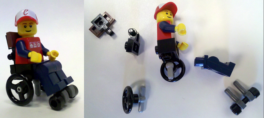 LEGO Wheelchair  While playing with the bicycle wheel I