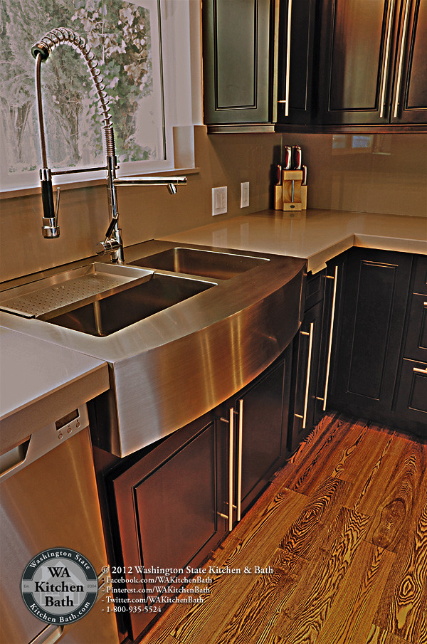 800 9355524 Stainless Steel Apron Sink on Espresso Mapl