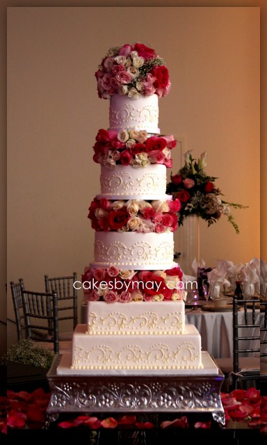 5 Tier Wedding Cake With Fresh Flowers Freehand Scrolls