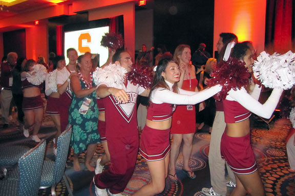 stanford cheerleaders lead conga line